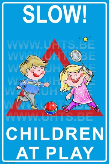 Slow! Children at play 300x450 mm, v3 red-blue-white-triangle