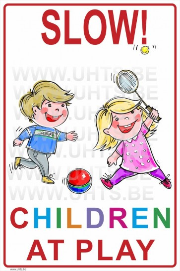 Slow! Children at play 300x450 mm, v2 white-colorful background