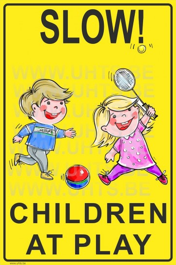 Slow! Children at play 300x450 mm, v2 yellow-black background