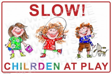 Slow! Children at play 450x300 mm, v1 white-colorful background