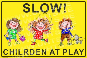 Slow! Children at play 450x300 mm, v1 yellow-black background