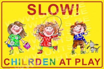 Slow! Children at play 450x300 mm, v1 yellow-colorful background