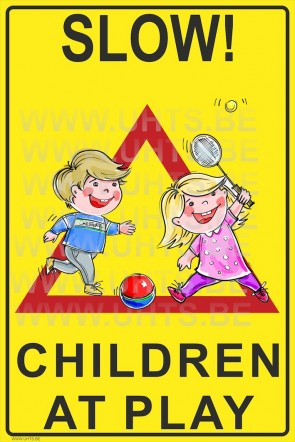 Slow! Children at play 300x450 mm, v3 red-yellow-black-triangle