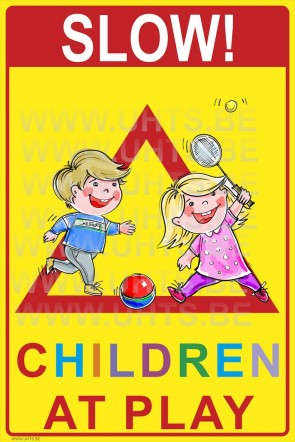 Slow! Children at play 300x450 mm, v3 red-yellow-colorful-triangle