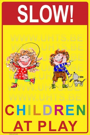 Slow! Children at play 300x450 mm, v4 red-yellow-colorful background
