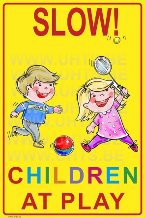 Slow! Children at play 300x450 mm, v2 yellow-colorful background