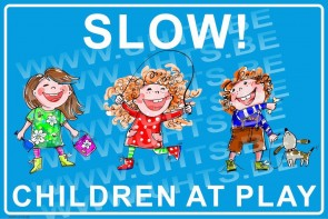 Slow! Children at play 450x300 mm, v1 blue-white background