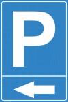 Parkeerbord met pijl links. 300x450  mm